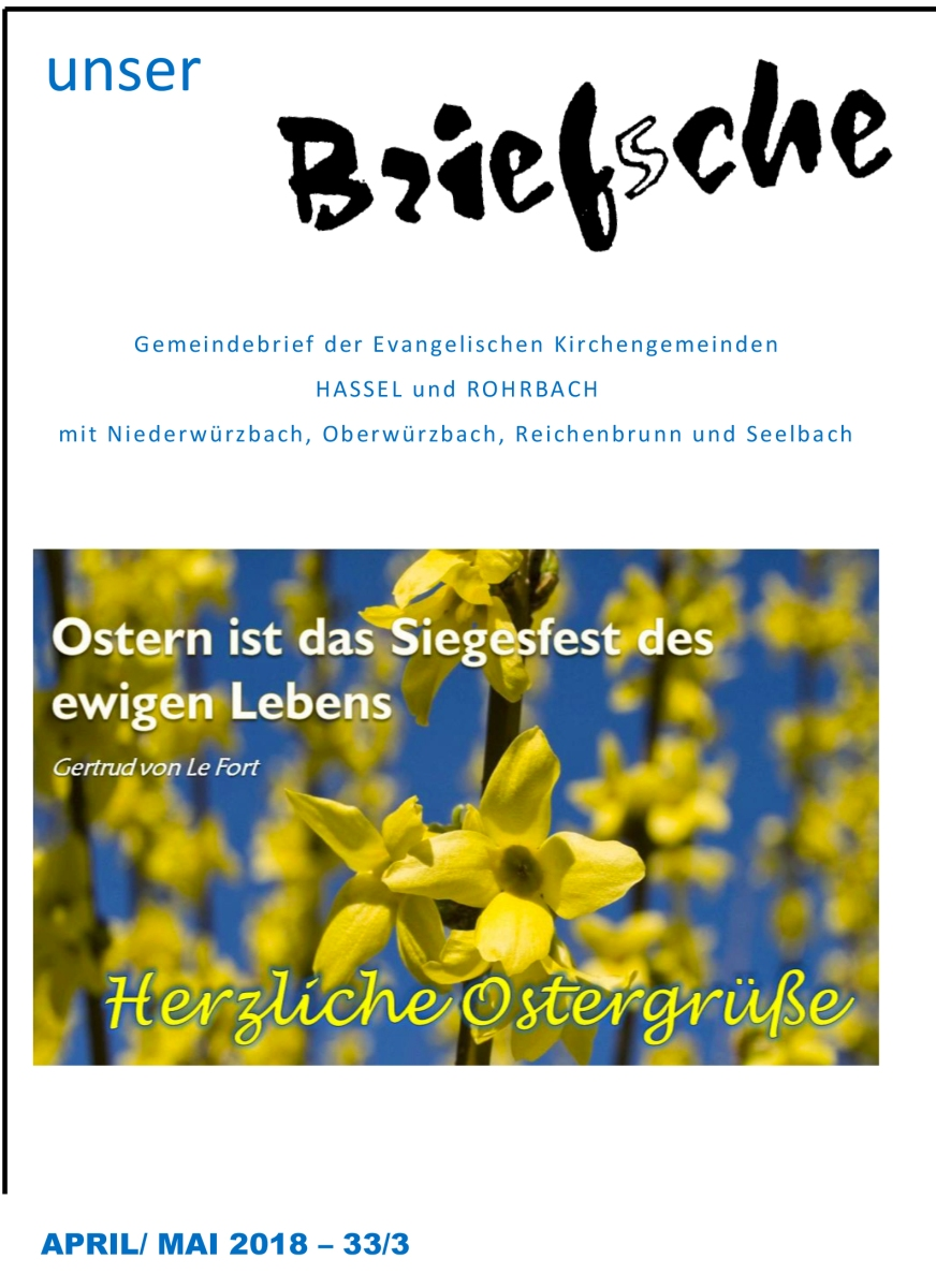 Das Osterbrief'sche 2018 der evangelischen Kirchengemeinde Hassel