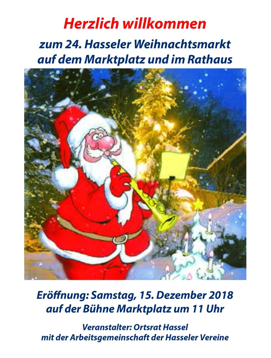 Hasseler Weihnachtsmarktmarkt am 15 Dezember 2018 (Flyer)